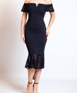 Lace Bottom Dress shown in black from Bright-Eyed & Beautiful Fashion Boutique