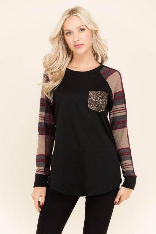 Plaid Sparkle Pocket Shirt from Bright-Eyed & Beautiful Fashion Boutique