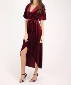 Evie Velvet Dress shown in burgundy from Bright-Eyed & Beautiful Fashion Boutique