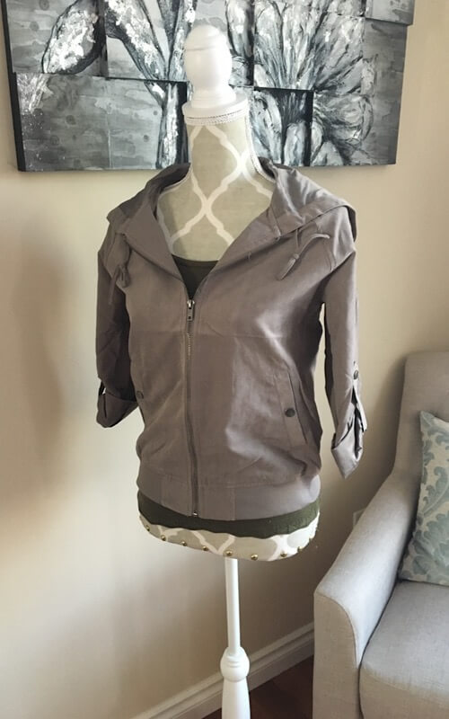 Crop Peach-Skin Jacket shown in light brown from Bright-Eyed & Beautiful Fashion Boutique