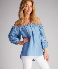Denim Off Shoulder Top shown in blue from Bright-Eyed & Beautiful Fashion Boutique
