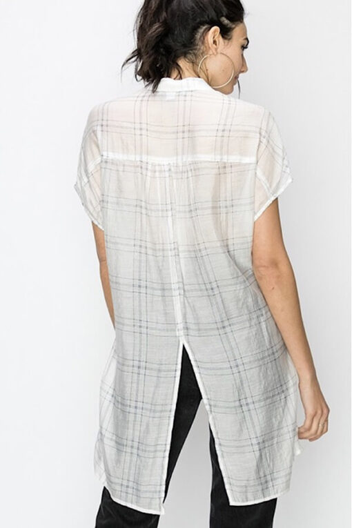 Plaid Maxi Top showing the long back from Bright-Eyed & Beautiful Fashion Boutique