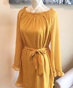 Poly Dress shown in mustard from Bright-Eyed & Beautiful Fashion Boutique
