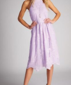 Lace High Neck Dress shown in purple from Bright-Eyed & Beautiful Fashion Boutique