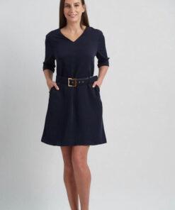 sheath navy blue dress