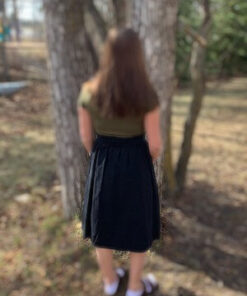 Paperbag Button Skirt shown in black from Bright-Eyed & Beautiful Fashion Boutique