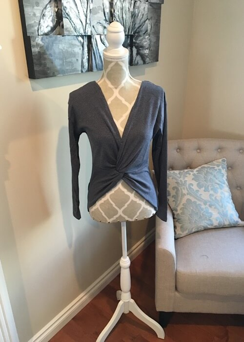 Two Way Top shown with crossing material in the front from Bright-Eyed & Beautiful Fashion Boutique