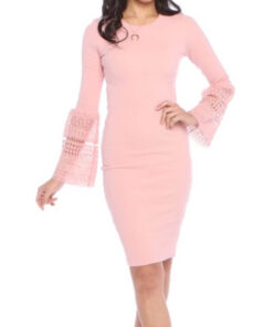 Pink Coloured bell lace sleeve dress sold by Bright-Eyed & Beautiful Fashion Boutique