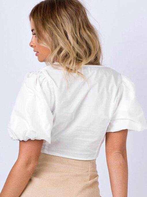 Sophia white button crop top
